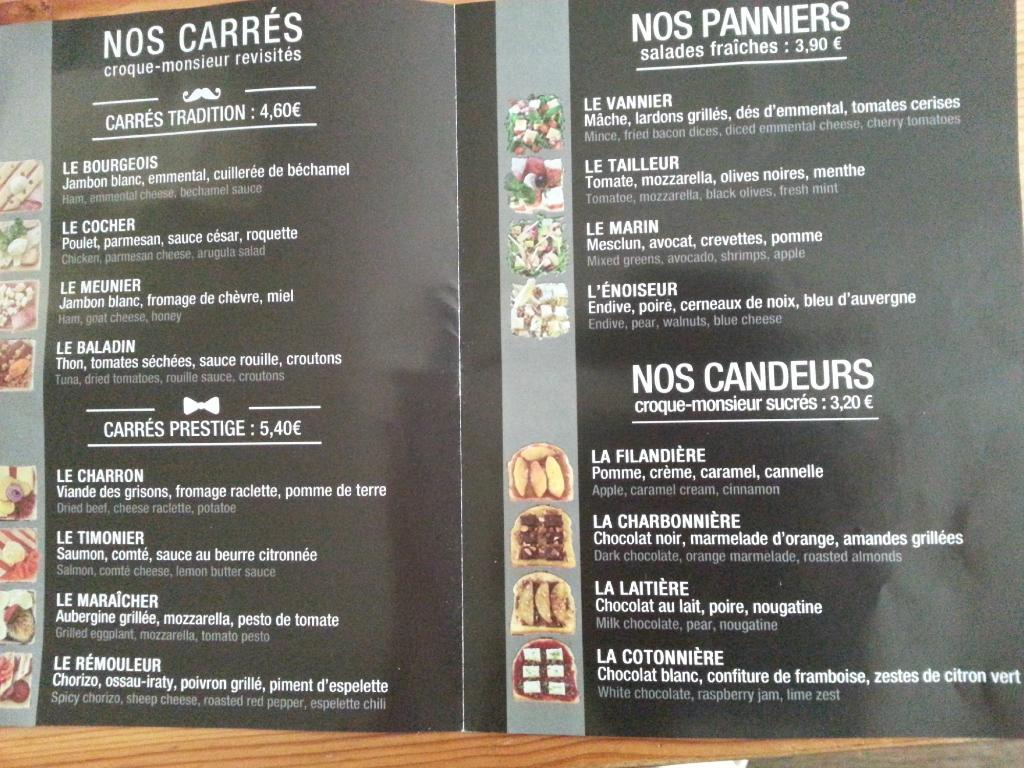 Square Maker aus Marseille Speisekarte