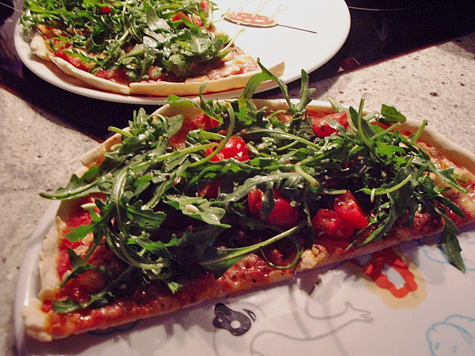 Foto der Schale Pizza Shrimps