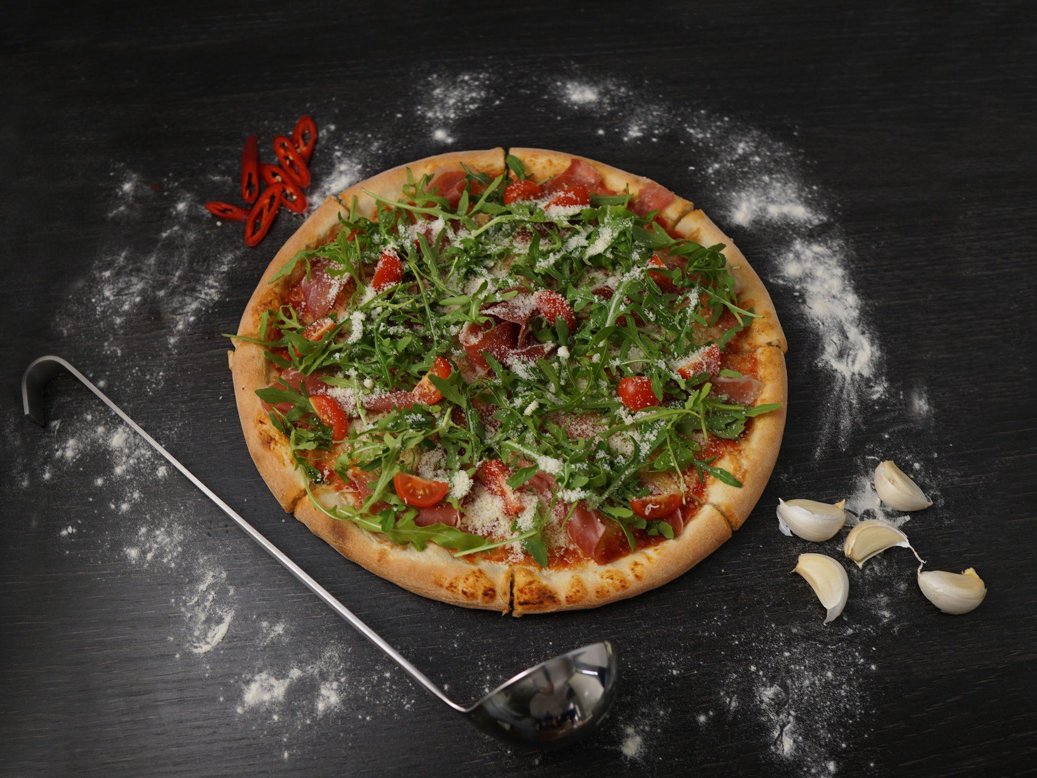 Foto der Schale Pizza Rucola