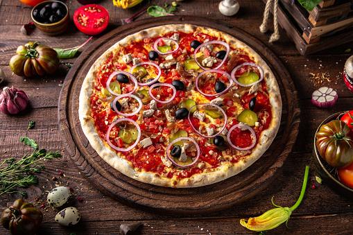 Foto der Schale Pizza Mexikanisch