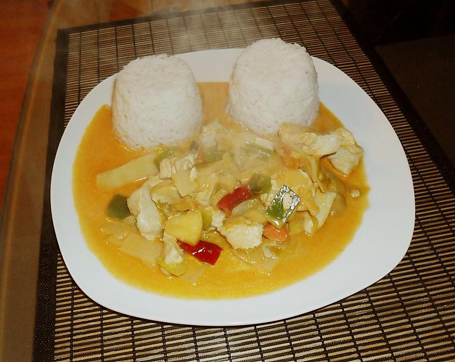 Foto der Schale Schweinefleisch Curry