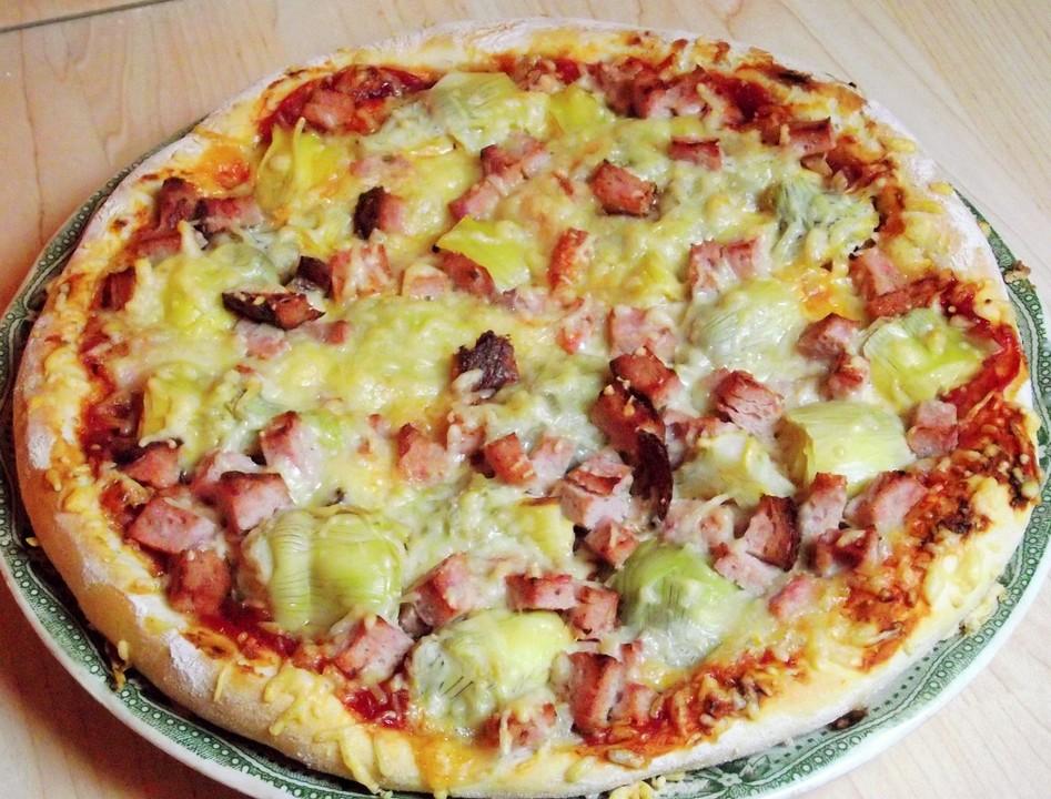 Foto der Schale Pizza Artischocken
